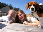 tricolorkid-friendly  beagle and family